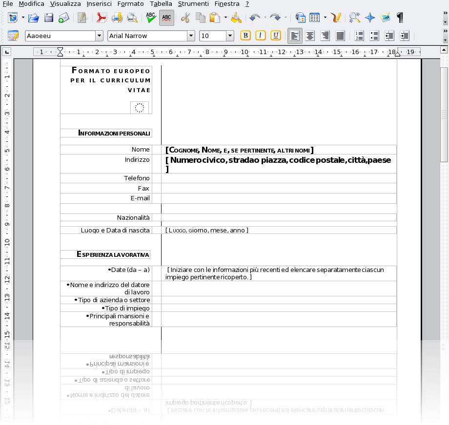 Curriculum Formato Europeo Open Fice